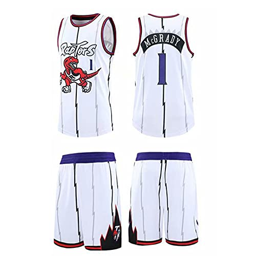 GFQTTY Camiseta De Baloncesto, Camiseta De La NBA Toronto Raptors # 1 Camiseta De Swingman Bordado Retro Dinosaurio Ligero Transpirable, Chaleco + Pantalones Cortos Traje Camiseta De Baloncesto