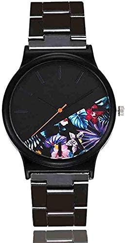 JZDH Mano Reloj Reloj de Pulsera de Lujo Floral patrón Casual Reloj de Cuarzo Mujer Reloj relogiono Vintage Cuero Mujeres Relojes Relojes Decorativos Casuales (Color : Morado)