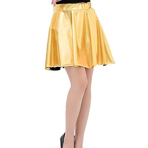 WEIMEITE Falda Skater Metálica Brillante Look Mojado Líquido Plisado Minifalda Corta Oro L