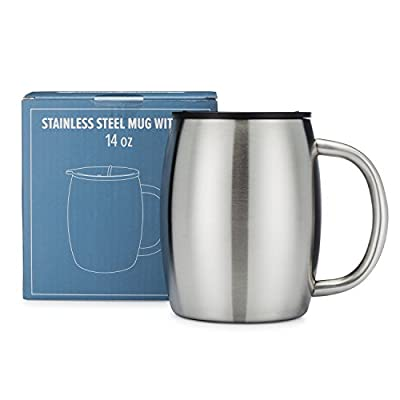 84c9ba390b6 This 14-ounce mug is made from 100 percent stainless steel. It's insulated,  so your coffee can stay warm, and the wide base makes it difficult to spill.