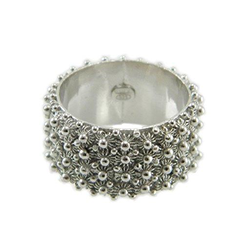 Anello in argento 925 fede filigrana tipo sarda lavorazione nido ape 4 file (12)