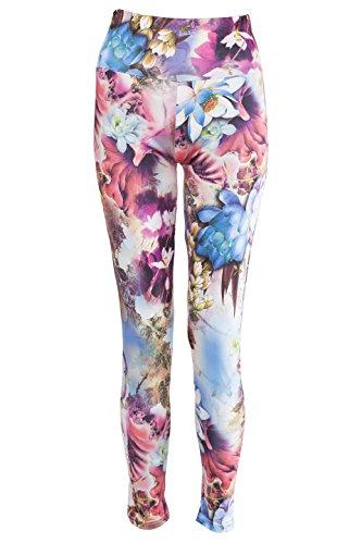 NOROZE Damen Blumen Drucken Leggings Frauen Strecken Hohe Taille Yoga Hose Aktiv Strumpfhose (46, Dahlie Türkis)
