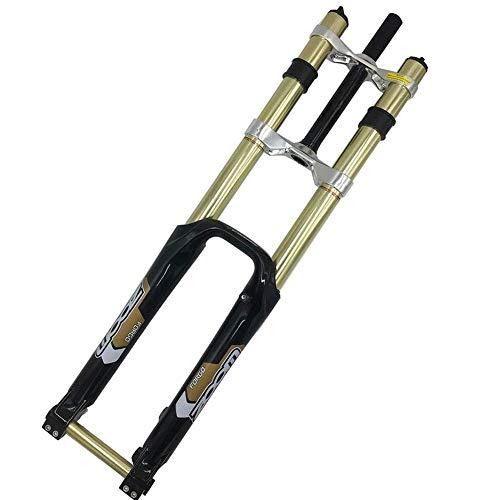 LOPP 27,5 Bike Gabel Mountainbike AM Federgabel, 26 Zoll Double Shoulder DH Fahrrad Vorderradgabel Scheibenbremsen MTB Downhill Vordergabel mit Dämpfung