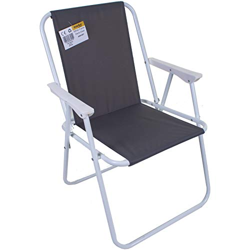 Marko Outdoor Folding Camping Deck Chair Garden Lawn Patio Spring Foldable Seat Outdoor BBQ (Grey)