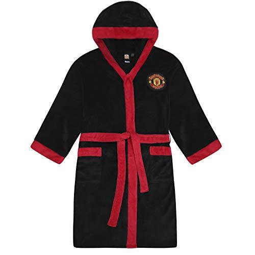 Manchester United FC - Herren Fleece-Bademantel - offizielles Merchandise Fußballfans - Schwarz - M