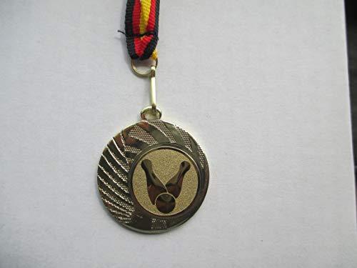 12 x Medaillen - aus Stahl 40mm - mit einem Emblem, Bowling Bowlen - inkl. Medaillen-Band - Farbe: Gold - (e262) -