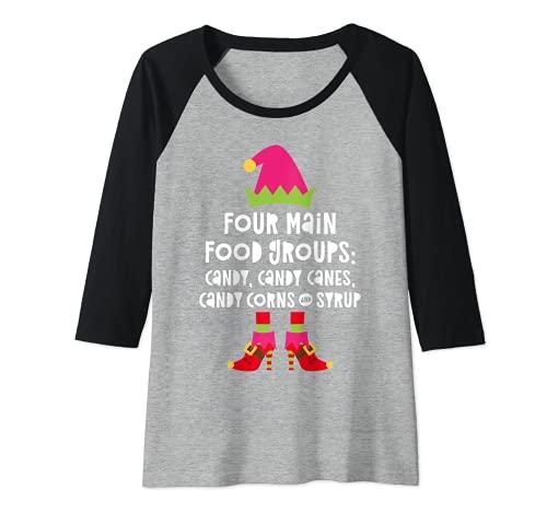 Mujer Four Main Food Groups Candy Canes - Camiseta con jarabe de maíz Camiseta Manga Raglan