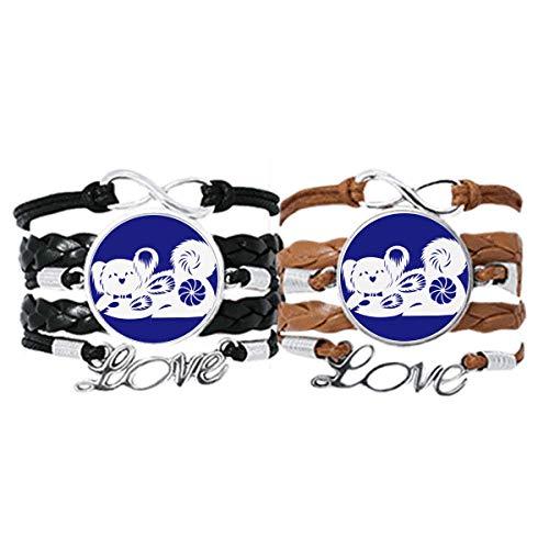DIYthinker Año de perro Animal China patrón zodiaco pulsera de mano correa de cuero cuerda pulsera...