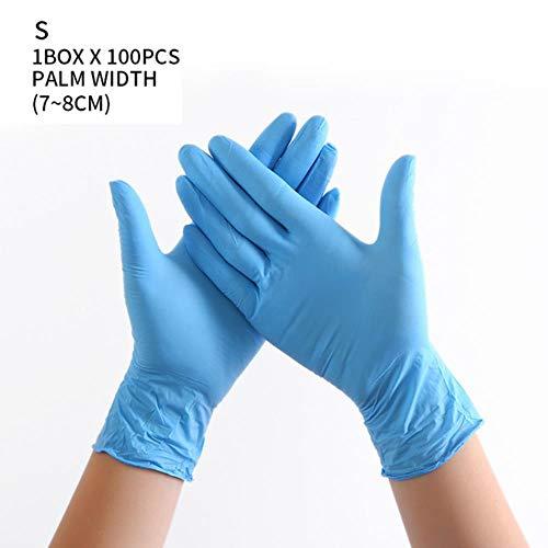 100st 3 kleuren wegwerphandschoenen latex afwassen / keuken / werk / rubber / tuinhandschoenen universeel voor links en rechts, blue1, xl