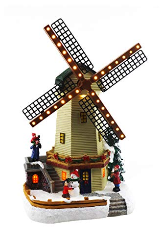 Christmas Village Windmill | Animated Pre-lit Musical Winter Snow Village | Perfect Addition to Your Christmas Indoor Decorations & Christmas Village Display
