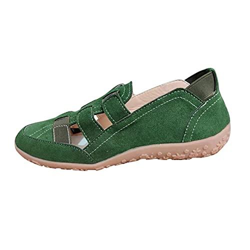 Fomino Casual vrijetijdsschoenen voor dames, lichtgewicht mesh, ademende jasserwtenschoenen, wandelschoenen, instappers, enkele schoenen, luie schoenen, wandelschoenen, comfortabele luie schoenen, groen, 41 EU