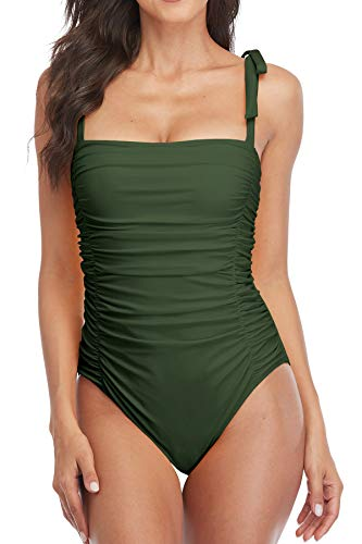 Sociala Womens One Piece Swimsuits Tummy Control Ruched Monokini Bathing Suits Dark Green
