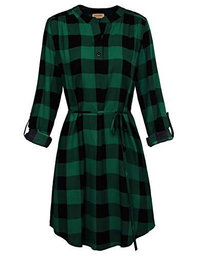 Kate Kasin Women Roll Up Sleeve Casual Tunic Mini Plaid T Shirt Dresses Green, L