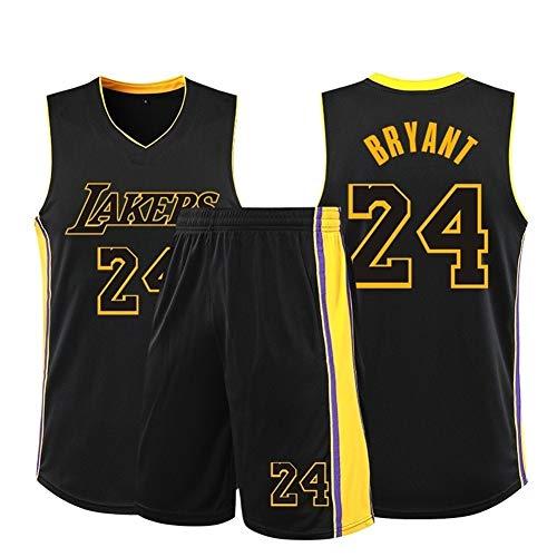 W&F Kobe Bryant # 24 Herren Basketball Trikots Set - Los Angeles Lakers - Sommer Trikots Basketball Uniform ärmelloses Top & Short (Color : B, Size : M)