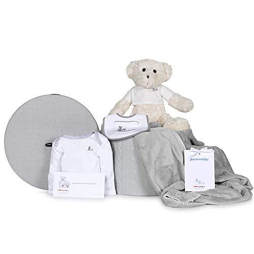 BebeDeParis | Regalos Personalizados para Bebés Recién Nacidos | Canastilla Unisex con mantita bordada y osito grande | Incluye body y babero | 3-6 Meses (Gris)