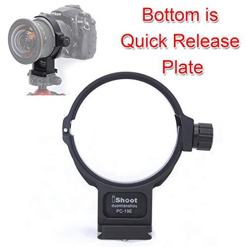 Aviation - Collare in alluminio per treppiedi per Nikon PC NIKKOR 19 mm f/4E ED inclinabile, supporto per obiettivo fotocamera con piastra a sgancio rapido per testa a sfera di tipo ARCA-SWISS/PMG