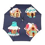 ジンジャーブレッドハウス 自動開閉式折りたたみ傘 ワンタッチ 折りたたみ傘 耐強風撥水 大きいサイズ 雨傘 日傘 持ち運びが簡単 おしゃれ 個性 晴雨兼用