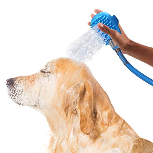 Dog Bath Washing Shower Attachment and Scrubber, Hose for Tub Faucet, Slip on Shower Hose
