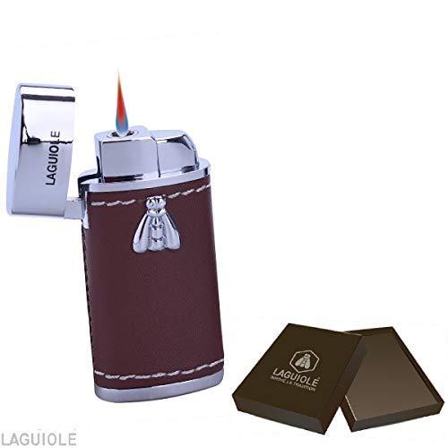 Laguiole Feuerzeug mit elektronischer Flamme. Ummanteltes und geflochtenes Kunstleder, sehr elegant in einer Geschenkbox. Ein Feuerzeug für Mann und Frau! braune Farbe. wiederaufladbare