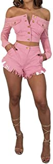 Speedle Women Denim-Like Off The Shoulder Pink Crop Top + Shorts 2 Piece Outfits