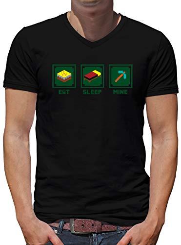 TShirt-People Eat Sleep Mine V-Kragen T-Shirt Herren XXXL Schwarz