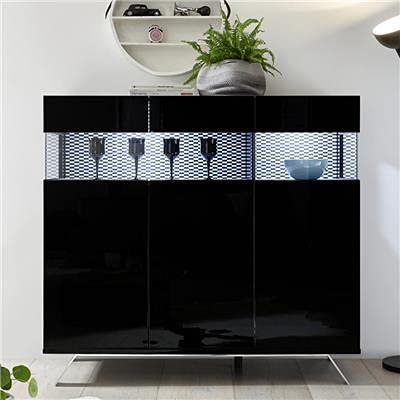 Noviomeuble - Aparador alto LED negro lacado diseño Castelli 7