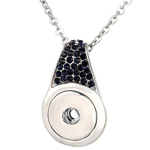 Morella® Damen Halskette Edelstahl 70 cm und Click-Button Träger veredelt mit blauen Zirkoniasteinen im Samtbeutel