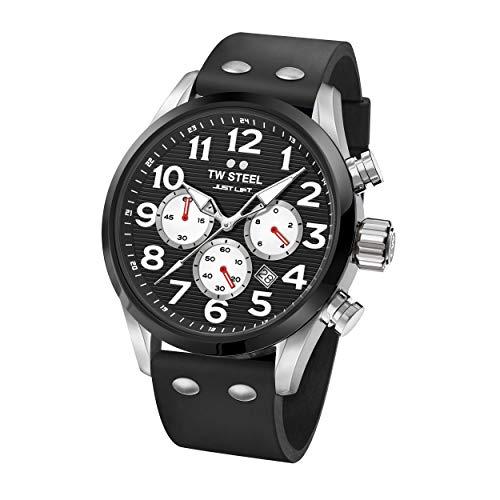 TW Steel Unisex Erwachsene Chronograph Quarz Uhr mit Silikon Armband TW985