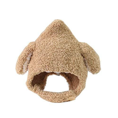 ZYSWP MZWJTZKD Sombrero de bebé otoño e Invierno Lindo Sombrero de Lana de los niños Viejos para los niños Protección de la Oreja Caliente y el Sombrero de Peluche a Prueba de Viento (Color : Khaki)