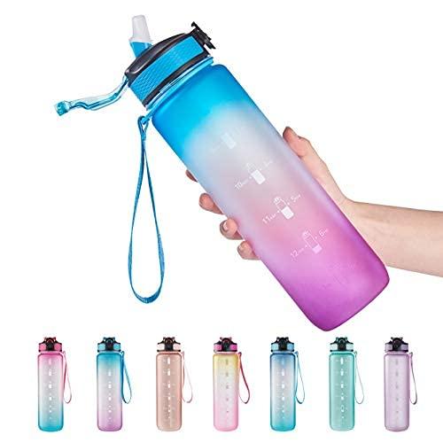 Botella de agua de 32 onzas con marcador de tiempo, correa de transporte, Tritan a prueba de fugas, sin BPA, asegúrate de beber suficiente agua para fitness, gimnasio, camping, deportes al aire libre