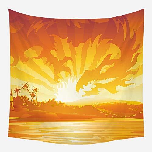 Tapiz de árbol de coco colgante de pared paisaje de puesta de sol tapiz de bosque playa estilo bohemio tela de fondo decorativo a4 150x200cm