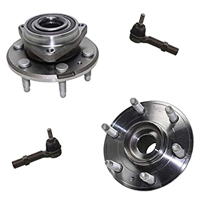 Detroit Axle - 4pc Front or Rear Wheel Bearing & Hubs w/ABS, Front Outer Tie Rods for 2008-2015 Buick Enclave - [2009-2015 Chevy Traverse] - 2007-2015 GMC Acadia - [2007-2010 Saturn Outlook]