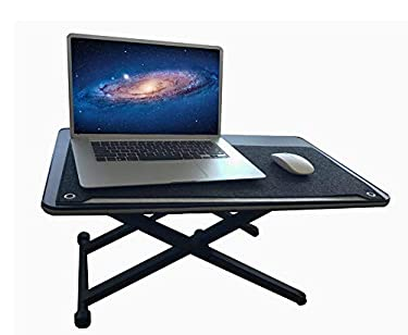 Adjustable Height Stand Steady Standing&Sitting Gas Spring Riser Desk Converter for Health Benefits and No Assembly Needed,Converts Any Desk or Cube to a Sit/Stand Up Desk,Black (25.6 x 15.7)