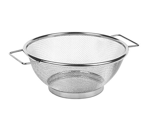 Invero Stainless Steel Colander Strainer with Side Handles and Base - Fine Mesh Sieve - Ideal for all Kitchens for Pasta, Noodles, Vegetables and Fruits and more (20 x 25 x 8cm)