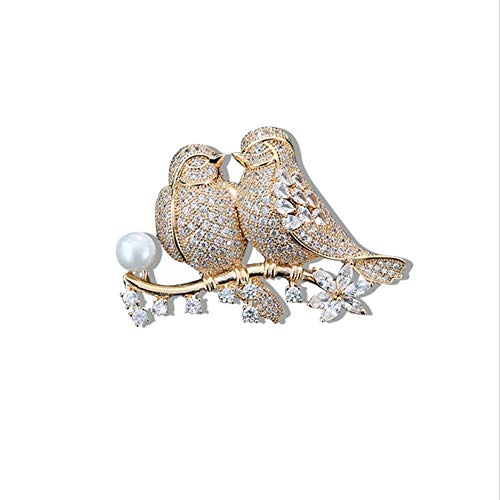 Qric Cofre Animal Forma Diamante Broche Amor Accesorios de pájaro Moda Broche