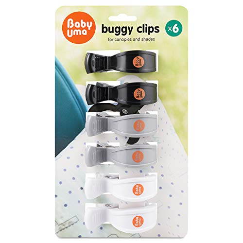 Buggy Clips for Muslins by Baby Uma - Pegs for Pushchair Blankets, Pram Hoods & Stroller Shades - Black/Grey/White - 6 Pieces