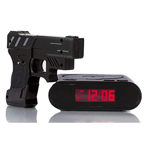 Reloj Despertador Pistola Despertador Gadget Objetivo Disparo Con Láser Registrable Reloj De Escritorio Electrónico Digital Reloj De Mesa Reloj Divertido Snooze Para Niños