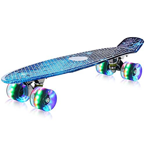 streakboard Skateboard, Komplettboard für Erwachsene Kinder Anfänger Jungen Mädchen Jugendliche, Mini Cruiser Skateboard mit LED-Blitzräder und ABEC-7 Kugellager, Tricks Skateboard 56 cm, Stabil