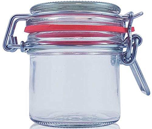 Tarros cristal cocina bote con cierre hermetico con tapa Pack de 6 botes para alimentos menaje de cocina tarro con cierre manual de aluminio ideal para conservas alimentos kombucha (6x-125Ml)