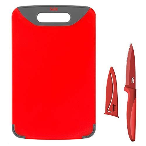 Silit Schneidebrett mit Messer, 2-teilig, 32 x 20 cm, Allzweckmesser mit Schutzhülle, Kunststoff, praktischer Griff, klingenschonend, rot
