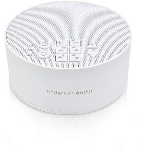 Einschlafhilfe für Erwachsene und Kinder White Noise Machine Weißes Rauschen Gerät mit 12 beruhigenden natürlichen Klängen Therapie, 3 Timer-Einstellungen, USB Powered (Weiß)