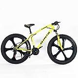 DJYD Teens Mountain Bikes, 21-Gang 24 Zoll Fat Tire Fahrrad, High-Carbon Stahlrahmen Hardtail Mountainbike mit Doppelscheibenbremse, Gelb, 5 Spoke FDWFN (Color : Yellow, Size : 5 Spoke)