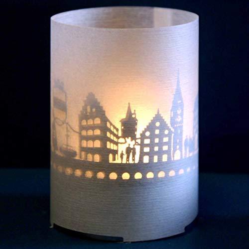 13gramm Zug-Skyline Windlicht Souvenir in der Geschenk-Box, 3D Edelstahl Aufsatz für Kerze inkl. Kerze, Projektionsschirm