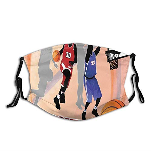FULIYA Máscara protectora lavable, reutilizable y ajustable, para jugadores de acción de baloncesto sobre fondo abstracto, estilo clásico póster ilustración, decoración facial impresa para adultos.