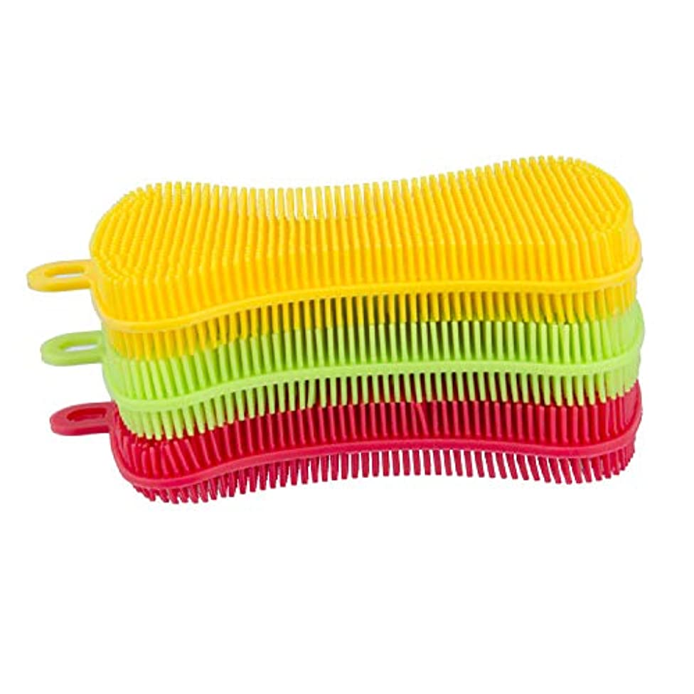 Cleaning Sponge Food Grade Antibacterial Silicone Tableware Cleaning Brush, Non-Stick Towel Dishwasher Kitchen Dish Bowl Brush/Fruit and Vegetables Heat Insulation Pad ..One for each color.(Three)