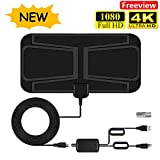 TV Aerial, Indoor HD Digital TV Antenna 80 Miles Freeview Aerial with Amplifier