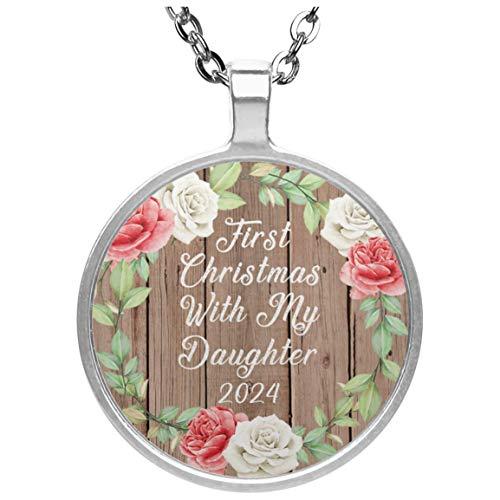 First Christmas With My Daughter 2024 - Circle Necklace B Collar, Colgante, Bañado en Plata - Regalo para Cumpleaños, Aniversario, Día de Navidad o Día de Acción de Gracias