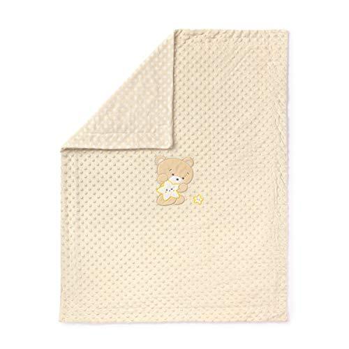 Babydecke aus seidig weichem Veloursmaterial - mit Stickerei - 440 g/m² - 75 x 100 cm - Design 'BABY NATURAL' - Naturfarben