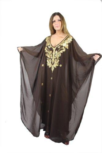 Abaya - Vestido de mujer de gasa Kaftan con bordados, vestido de fiesta Orient Dubai-Abaya Caftan marrón/dorado Talla única