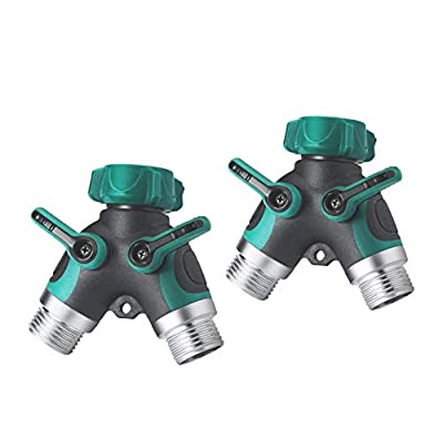 Y Hose Splitter 2 Way, Garden Hose Connector with Comfortable Rubberized Grip for Outdoor Faucet, Sprinkler & Drip Irrigation Systems (2 Pack)
